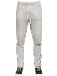 Philipp Plein Quilted Cotton Jersey Jogging Trousers Heather Grey