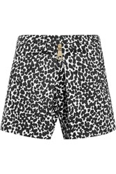 Boutique Moschino Leopard Print Cotton Blend Poplin Shorts Black