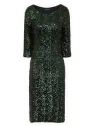 Hotsquash Long Sleeved Dress With Sequin Trim Green