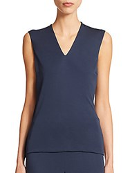 Akris Cascade Sheer Inset Sleeveless Top Amazonite