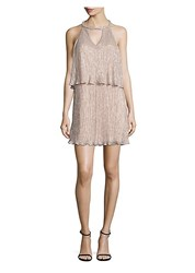 Ella Moss Cerine Metallic Tiered Keyhole Dress Pink Champagne