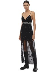 Amiri Embellished Silk Chiffon Midi Dress Black