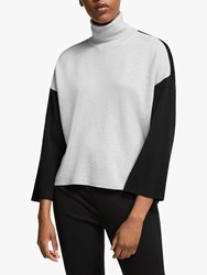 Eileen Fisher Merino Colour Block Roll Neck Jumper Pearl Black