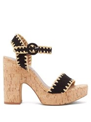 Tabitha Simmons Elena Whip Suede And Cork Platform Sandals Black