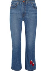 Bliss And Mischief Strawberry Cowbody Cropped Embroidered High Rise Bootcut Jeans Mid Denim