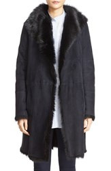 Joseph Women's 'Anais' Genuine Toscana Shearling Coat Navy Black