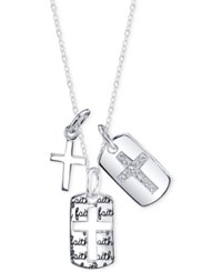 Unwritten Cubic Zirconia Three Cross Pendant Necklace In Sterling Silver