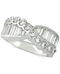 Giani Bernini Cubic Zirconia Baguette Crossover Ring In Sterling Silver Created For Macy's