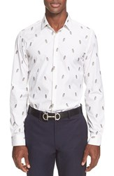 Men's Salvatore Ferragamo Trim Fit Embroidered Owl Stripe Shirt