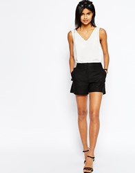 Asos Tailored A Line Short In Linen Black