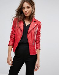 Y.A.S Red Leather Jacket Red