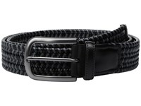 Torino Leather Co. 35Mm Italian Mini Strand Woven Stretch Black Grey Men's Belts