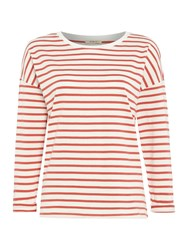 Long Sleeve Stripe Tee Top In Faded Red Red