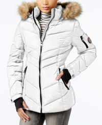 Madden Girl Faux Fur Trim Hooded Chevron Puffer Coat White