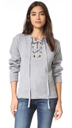 Lioness Sicily In Dusk Lace Up Sweater Grey
