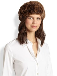 Surell Rabbit Fur Convertible Headband Golden Brown