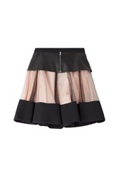 David Koma Flared Skirt With Leather And Tulle Black