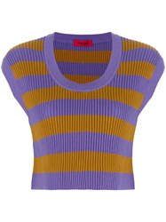 The Gigi Striped Knitted Top Pink And Purple