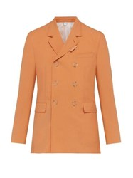 Burberry Double Breasted Press Stud Wool Jacket Orange