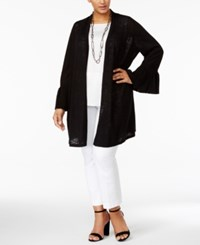 Alfani Plus Size Linen Cotton Duster Cardigan Only At Macy's Deep Black