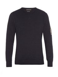 Alexander Mcqueen Applique Sleeve Crew Neck Cotton Sweatshirt Navy
