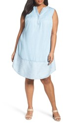Foxcroft Plus Size Women's Tencel Chambray Shift Dress