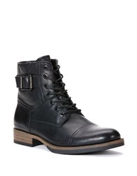 Calvin Klein Roberts Leather Lace Up Boots Black