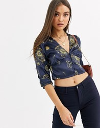 Neon Rose Tea Blouse With Plunge Button Front In Celestial Print Navy