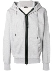Tom Ford Oversized Zip Front Hoodie Grey