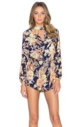 Lucca Couture Keyhole Long Sleeve Romper Navy