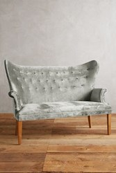 Anthropologie Slub Velvet Wingback Bench Slate