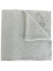 Ermanno Scervino Embroidered Knit Scarf Grey