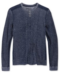 American Rag Men's Plaited Pieced Henley Sweater Only At Macy's Basic Navy