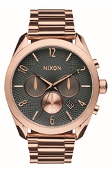 Nixon 'Bullet' Guilloche Chronograph Bracelet Watch 42Mm Rose Gold Gunmetal