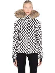 Jet Set Printed Nylon Ski Jacket With Fur Trim