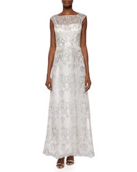 Phoebe Couture Sleeveless Metallic Embroidered Organza Gown Silver