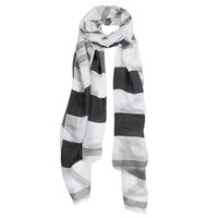 Dents Ladies Striped Denim Style Woven Scarf Black