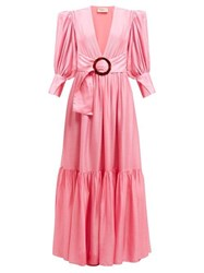 Adriana Degreas Gigot Sleeved Belted Dress Pink