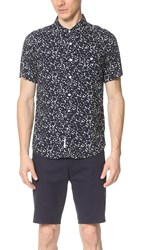 Native Youth Ink Blot Print Short Sleeve Shirt Navy