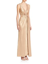 Dawn Levy Platinum Foxtrot Foiled Knit Gown Gold
