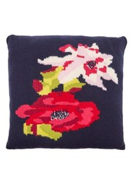 Allude Floral Intarsia Cashmere Cushion Navy