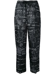 Muveil Illustration Print Drawstring Trousers Black