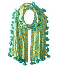 San Diego Hat Company Bss1694 Cotton All Over Banana Print Scarf With Tassels Teal Scarves Blue