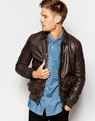 Pepe Jeans Pepe Leather Jacket Indiana Slim Fit Bomber 2 Pocket Darkbrown