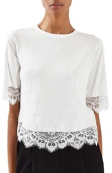 Topshop Women's Lace Trim Tee Cream