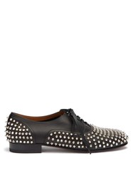 Christian Louboutin Freddy Spike Embellished Leather Oxford Shoes Black