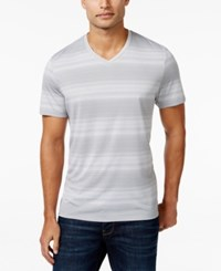 Alfani Red V Neck Striped T Shirt Only At Macy's Zinc Heather Combo