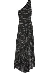 Saint Laurent One Shoulder Asymmetric Polka Dot Silk Georgette Gown Black