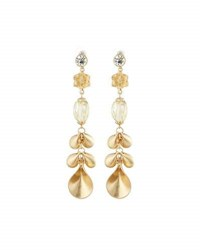 Lydell Nyc Crystal And Petal Dangle Earrings