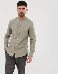 Bershka Shirt With Grandad Collar In Khaki Green